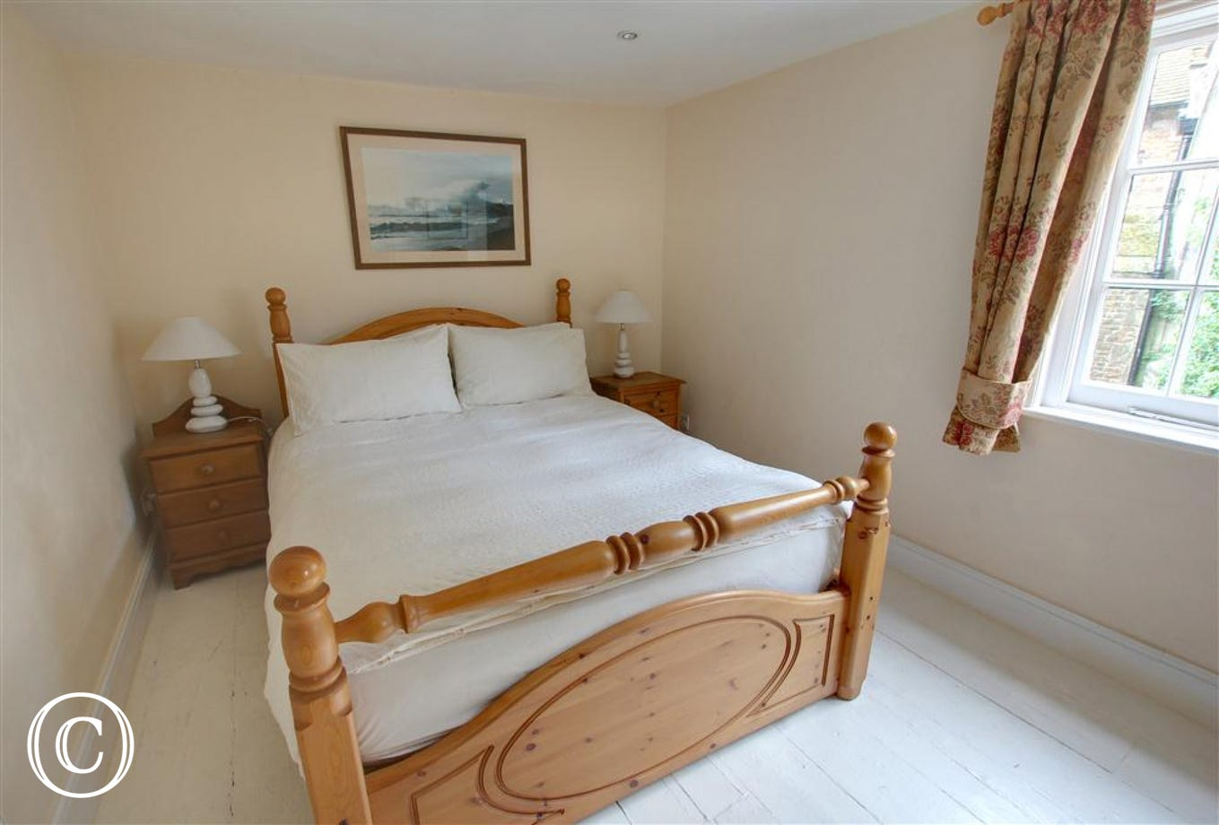 Slightly larger double bedroom with lovely pine bedstead