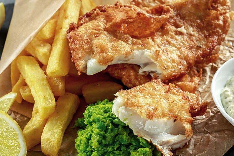 Enjoy fish and chips from the Torcross Boathouse
