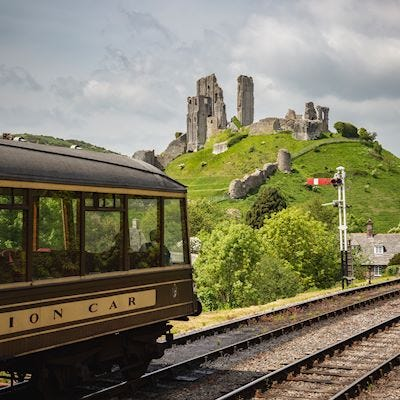 Corfe castle from Swanage railway