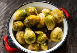 A pot of tasty looking Brussel Sprouts