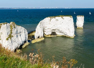 The white Old Harry Rocks of Studland Bay are a must see