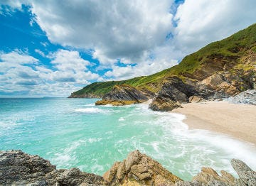 The Cornish coast with turquoise waters