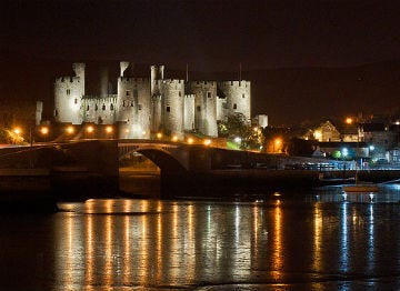 Conwy Castle pictured at night