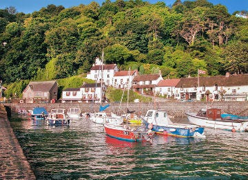 A view of the boats moored in Lynmouth Harbour