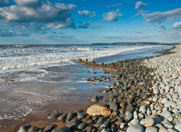 The pebble stone beach at Westward Ho!