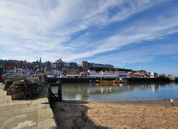 The view of the harbour at Whitby on a sunny day