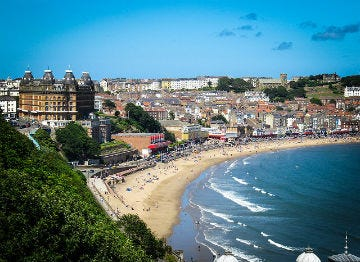 View over Scarborough with the magnificent hotel in full view