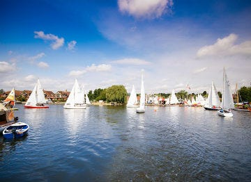 In fine weather, all the sailing enthusiasts our our on the Norfolk Broads