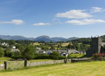 View of the charming village of Hawkshead